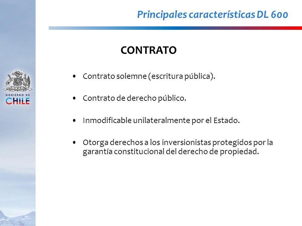 Contrato solemne (escritura pública). Contrato de derecho público. Inmodificable unilateralmente por el Estado. Otorga derechos a los inversionistas p