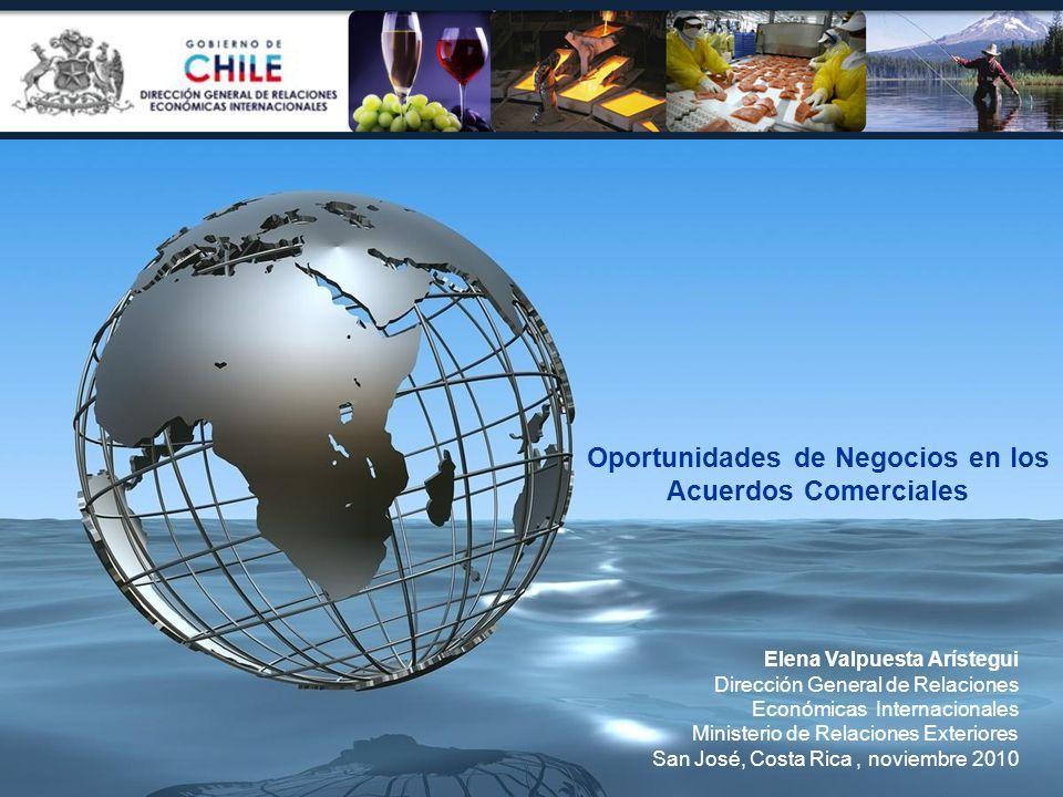 Oportunidades de Negocios en los Acuerdos Comerciales Elena Valpuesta Arístegui Dirección General de Relaciones Económicas Internacionales Ministerio