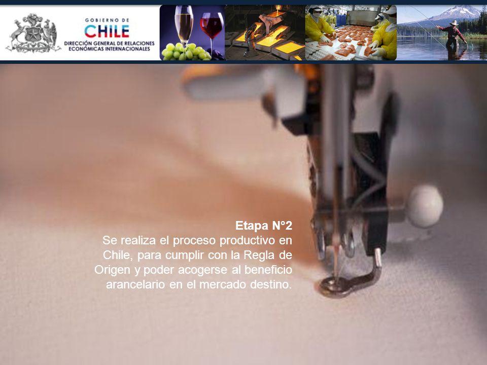 Etapa N°2 Se realiza el proceso productivo en Chile, para cumplir con la Regla de Origen y poder acogerse al beneficio arancelario en el mercado desti