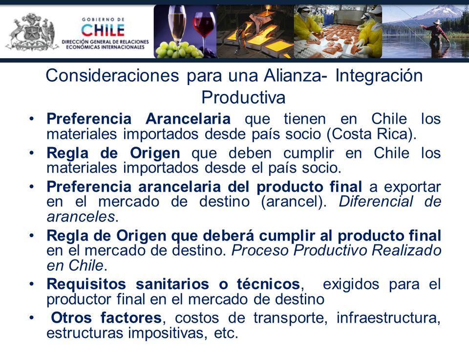 Preferencia Arancelaria que tienen en Chile los materiales importados desde país socio (Costa Rica). Regla de Origen que deben cumplir en Chile los ma