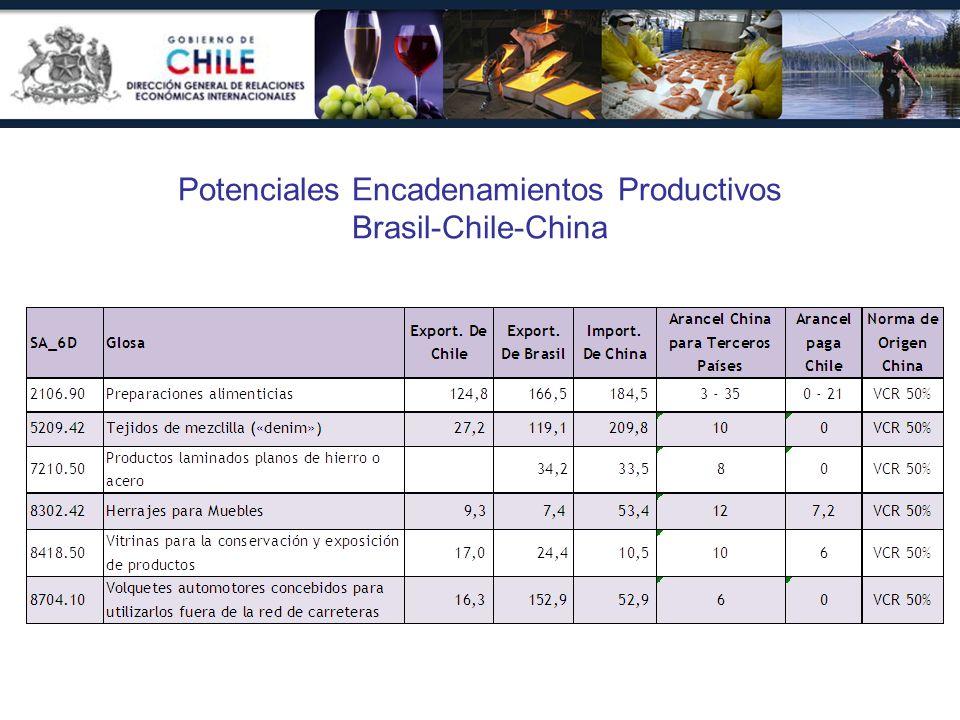 Potenciales Encadenamientos Productivos Brasil-Chile-China