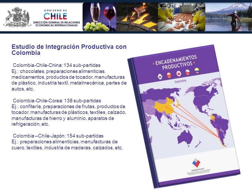 Estudio de Integración Productiva con Colombia Colombia-Chile-China: 134 sub-partidas Ej.: chocolates, preparaciones alimenticias, medicamentos, produ