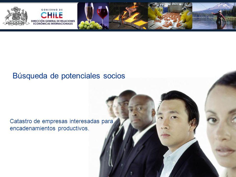 Búsqueda de potenciales socios Catastro de empresas interesadas para encadenamientos productivos.