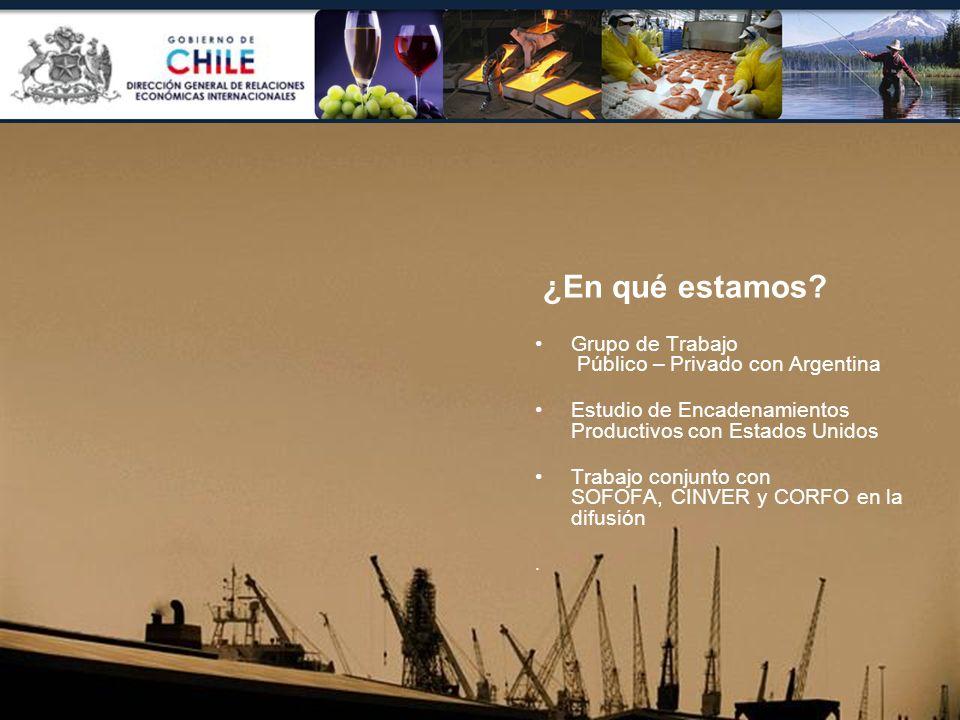 ¿En qué estamos? Grupo de Trabajo Público – Privado con Argentina Estudio de Encadenamientos Productivos con Estados Unidos Trabajo conjunto con SOFOF