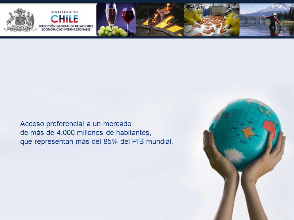 Acceso preferencial a un mercado de más de 4.000 millones de habitantes, que representan más del 85% del PIB mundial.