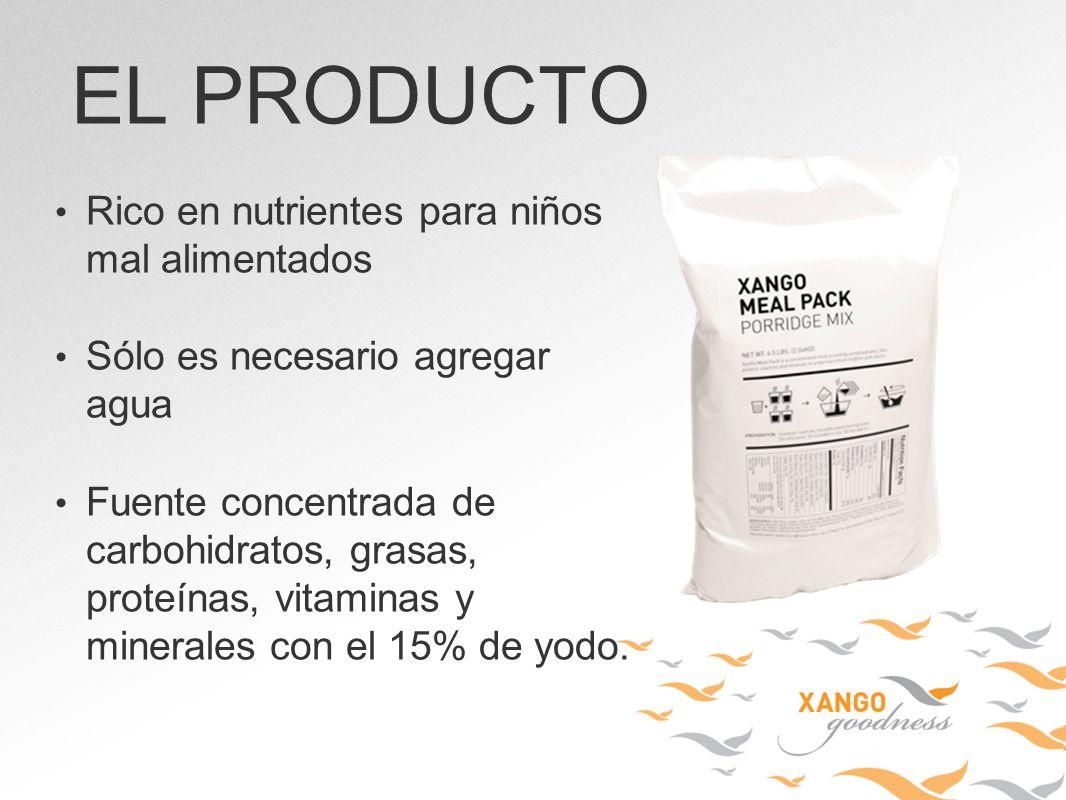 Rico en nutrientes para niños mal alimentados Sólo es necesario agregar agua Fuente concentrada de carbohidratos, grasas, proteínas, vitaminas y miner