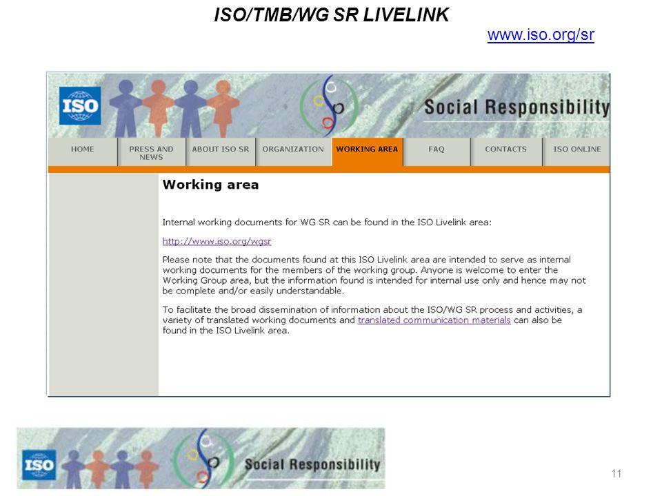 11 ISO/TMB/WG SR LIVELINK www.iso.org/sr