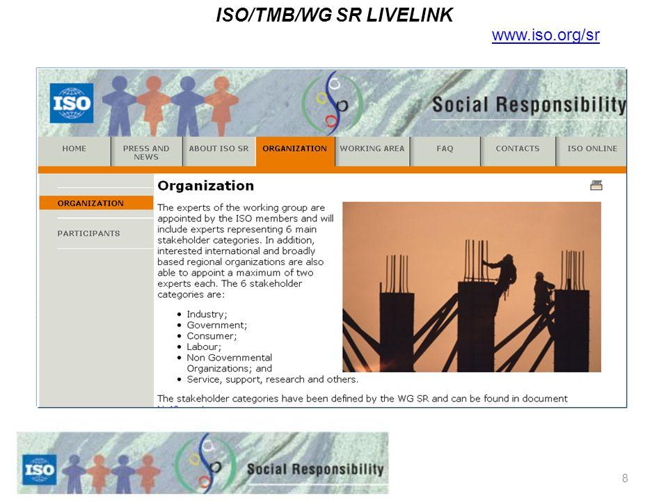 8 ISO/TMB/WG SR LIVELINK www.iso.org/sr