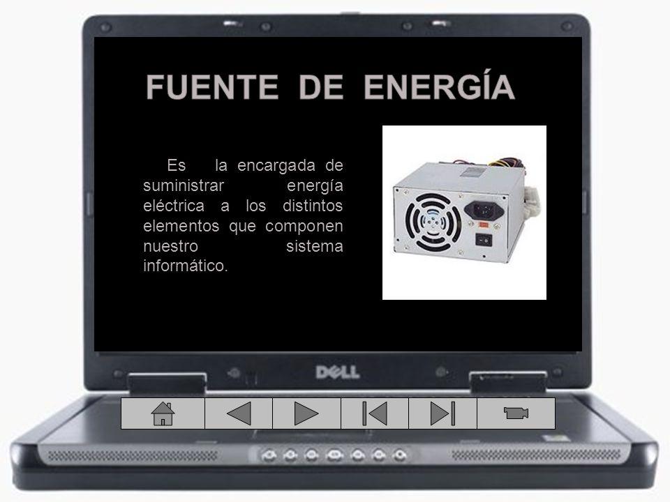 Es la encargada de suministrar energía eléctrica a los distintos elementos que componen nuestro sistema informático.