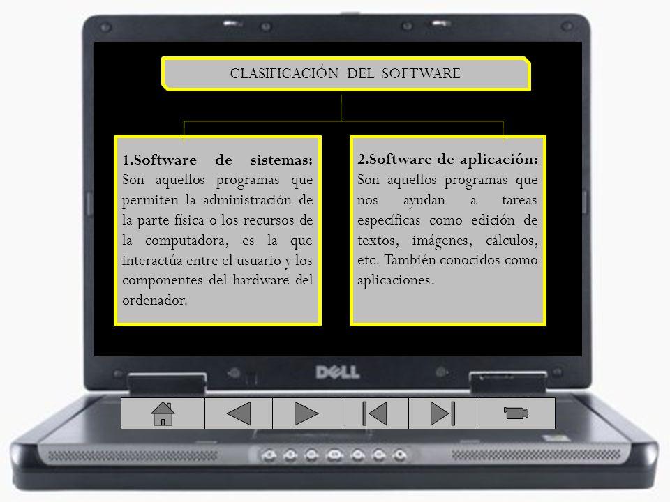 1.Software de sistemas: Son aquellos programas que permiten la administración de la parte física o los recursos de la computadora, es la que interactú