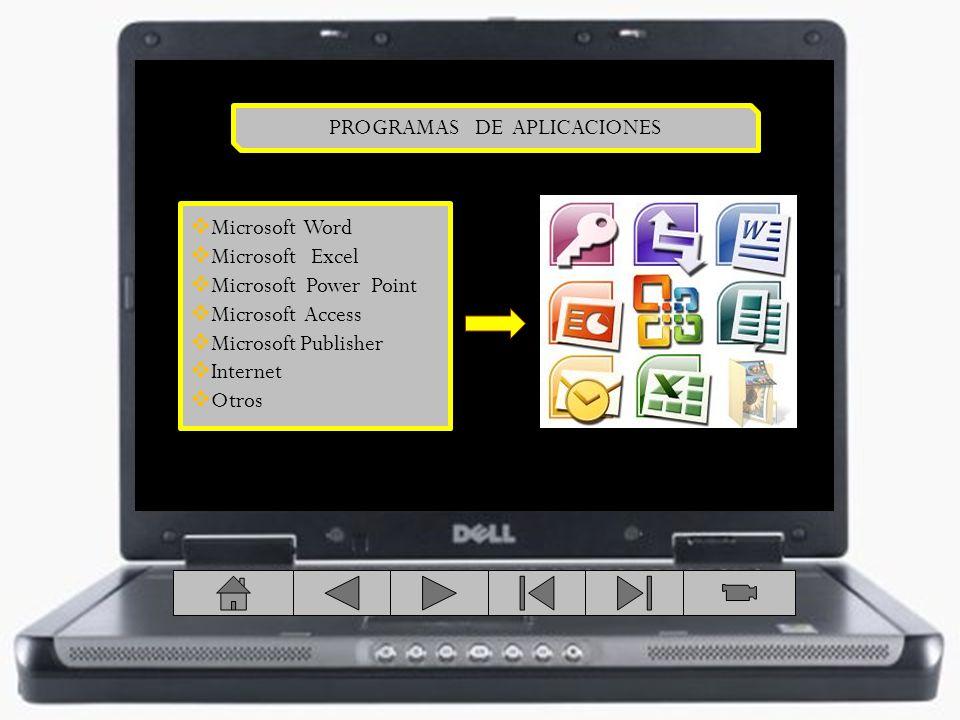 PROGRAMAS DE APLICACIONES Microsoft Word Microsoft Excel Microsoft Power Point Microsoft Access Microsoft Publisher Internet Otros
