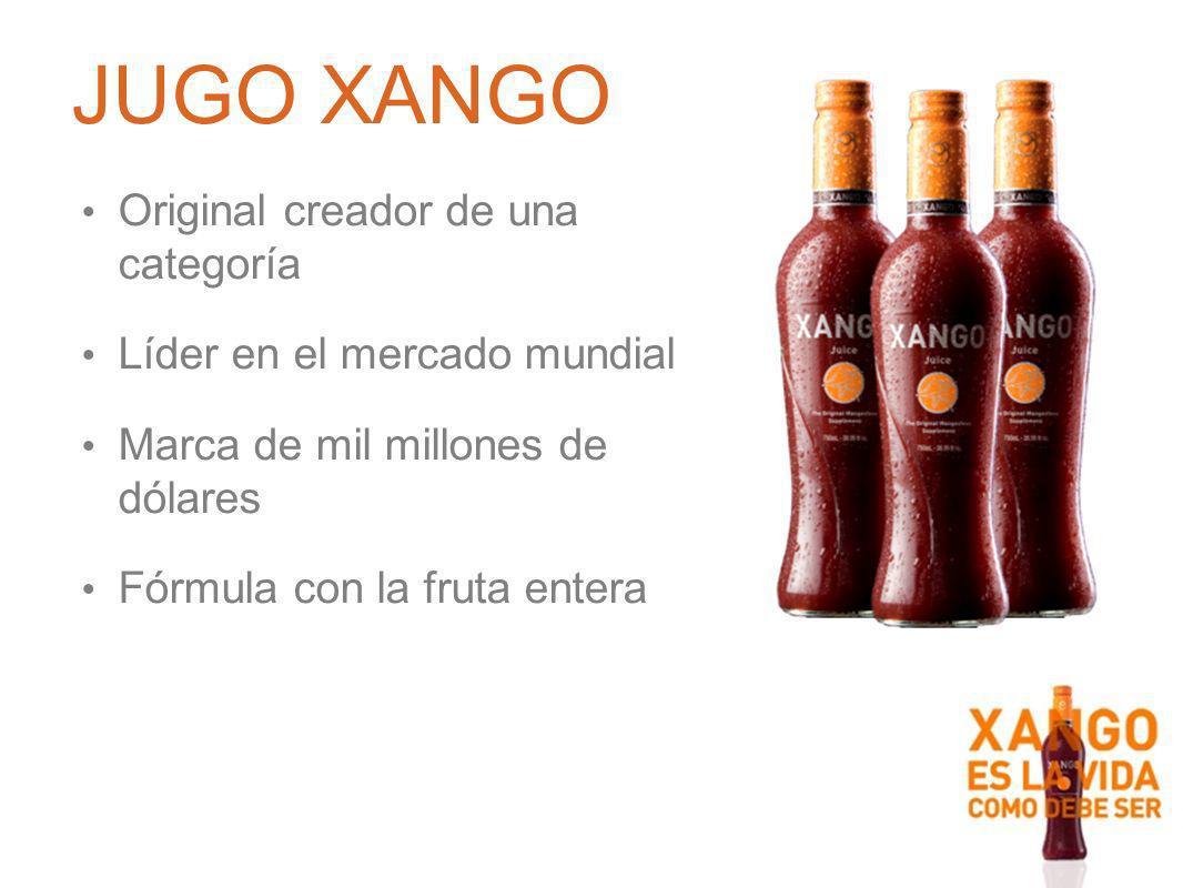 Original creador de una categoría Líder en el mercado mundial Marca de mil millones de dólares Fórmula con la fruta entera JUGO XANGO