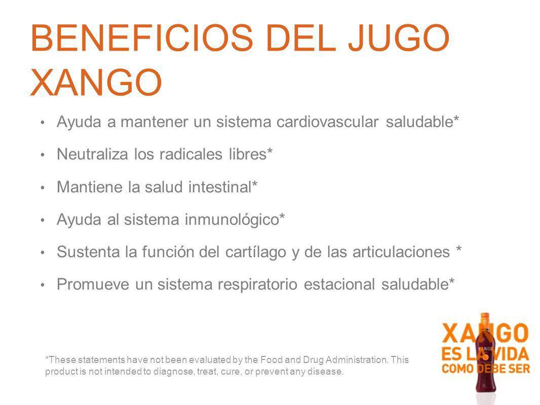 BENEFICIOS DEL JUGO XANGO Ayuda a mantener un sistema cardiovascular saludable* Neutraliza los radicales libres* Mantiene la salud intestinal* Ayuda a