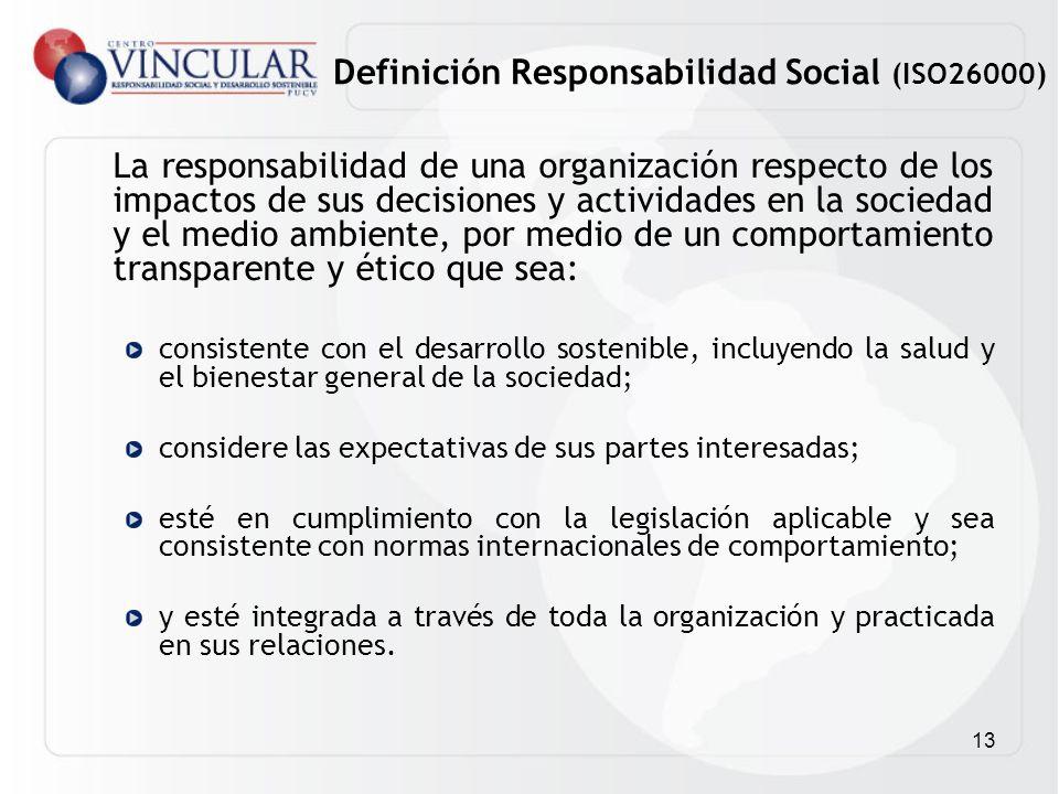 13 La responsabilidad de una organización respecto de los impactos de sus decisiones y actividades en la sociedad y el medio ambiente, por medio de un