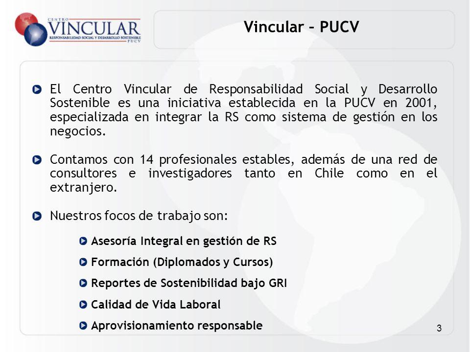 3 Vincular – PUCV El Centro Vincular de Responsabilidad Social y Desarrollo Sostenible es una iniciativa establecida en la PUCV en 2001, especializada