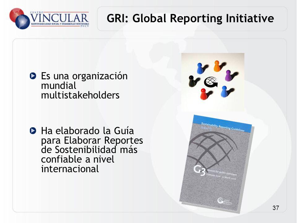 37 GRI: Global Reporting Initiative Es una organización mundial multistakeholders Ha elaborado la Guía para Elaborar Reportes de Sostenibilidad más co