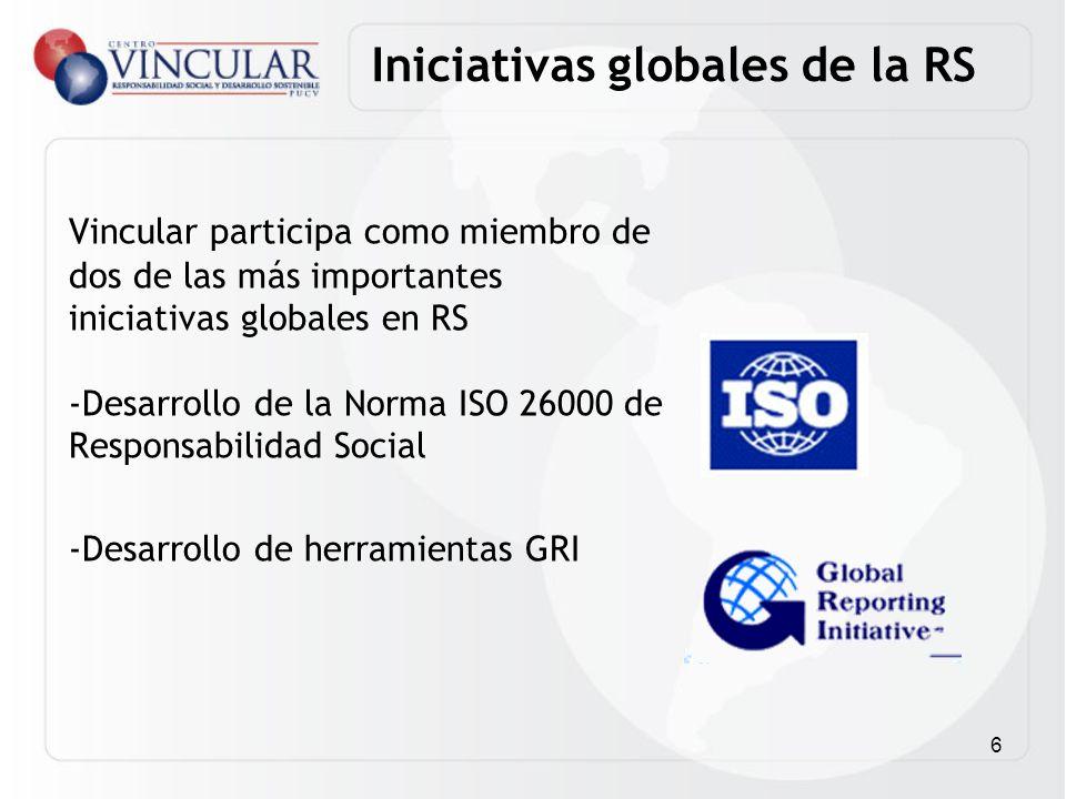 6 Vincular participa como miembro de dos de las más importantes iniciativas globales en RS -Desarrollo de la Norma ISO 26000 de Responsabilidad Social
