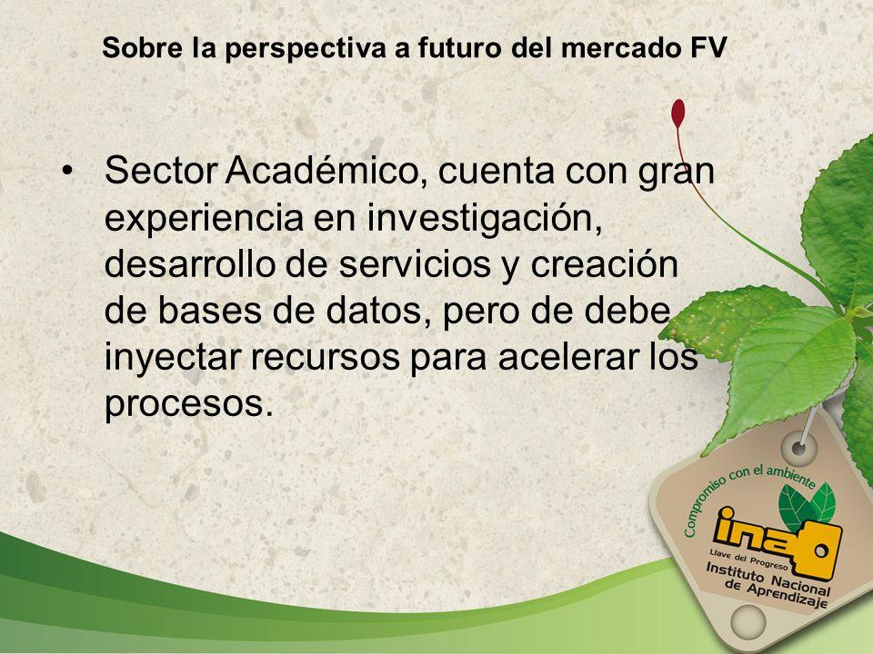 Sobre la perspectiva a futuro del mercado FV Sector Académico, cuenta con gran experiencia en investigación, desarrollo de servicios y creación de bas