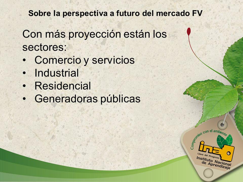Sobre la perspectiva a futuro del mercado FV Con más proyección están los sectores: Comercio y servicios Industrial Residencial Generadoras públicas