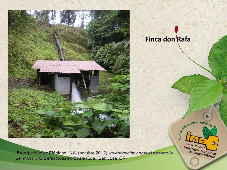 Finca don Rafa Fuente: Núcleo Eléctrico, INA, (octubre 2012). Investigación sobre el desarrollo de micro hidro eléctricas en Costa Rica. San José, CR