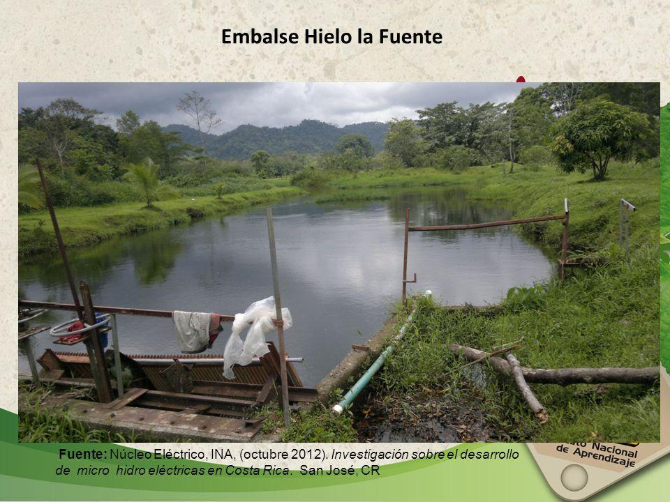 Embalse Hielo la Fuente Fuente: Núcleo Eléctrico, INA, (octubre 2012). Investigación sobre el desarrollo de micro hidro eléctricas en Costa Rica. San