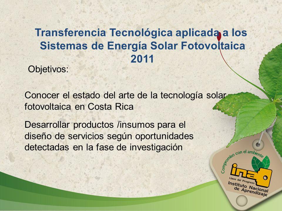 Conocer el estado del arte de la tecnología solar fotovoltaica en Costa Rica Desarrollar productos /insumos para el diseño de servicios según oportuni