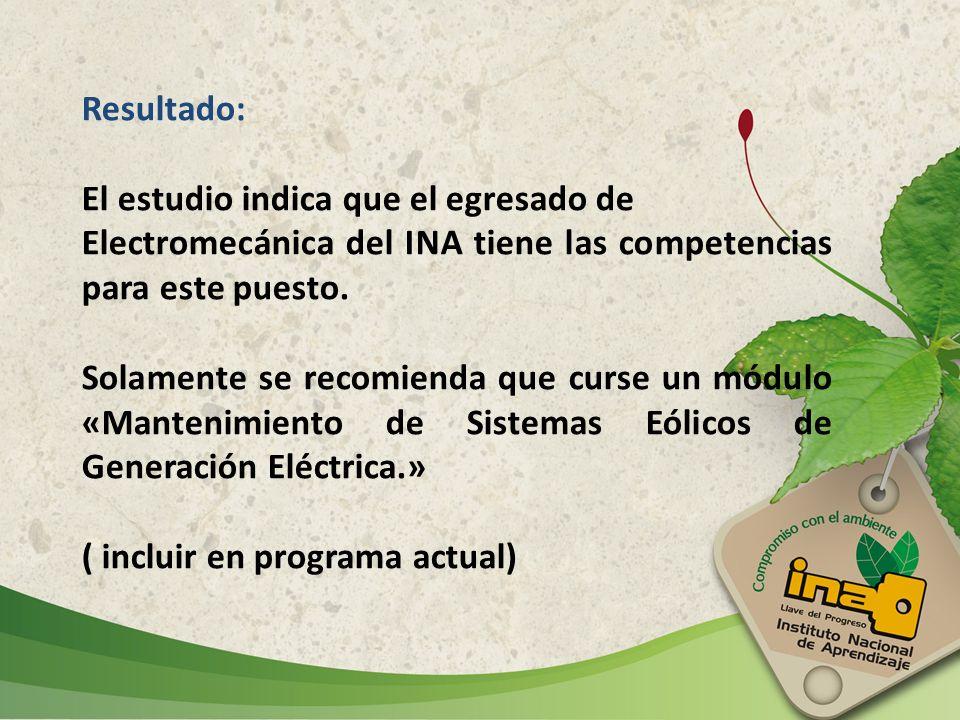 Resultado: El estudio indica que el egresado de Electromecánica del INA tiene las competencias para este puesto. Solamente se recomienda que curse un