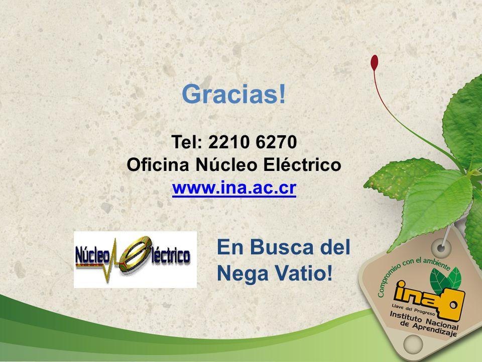 En Busca del Nega Vatio! Gracias! Tel: 2210 6270 Oficina Núcleo Eléctrico www.ina.ac.cr