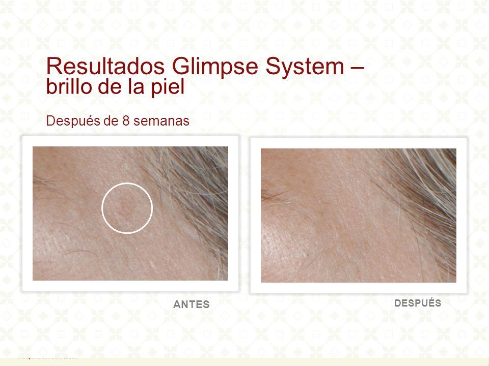 80% Informaron de disminución en la aparición de líneas finas y arrugas 90% Mostraron un aumento en la hidratación de la piel 100% Informaron de aumento en el brillo de la piel Lo más destacado: Resultados clínicosGlimpse