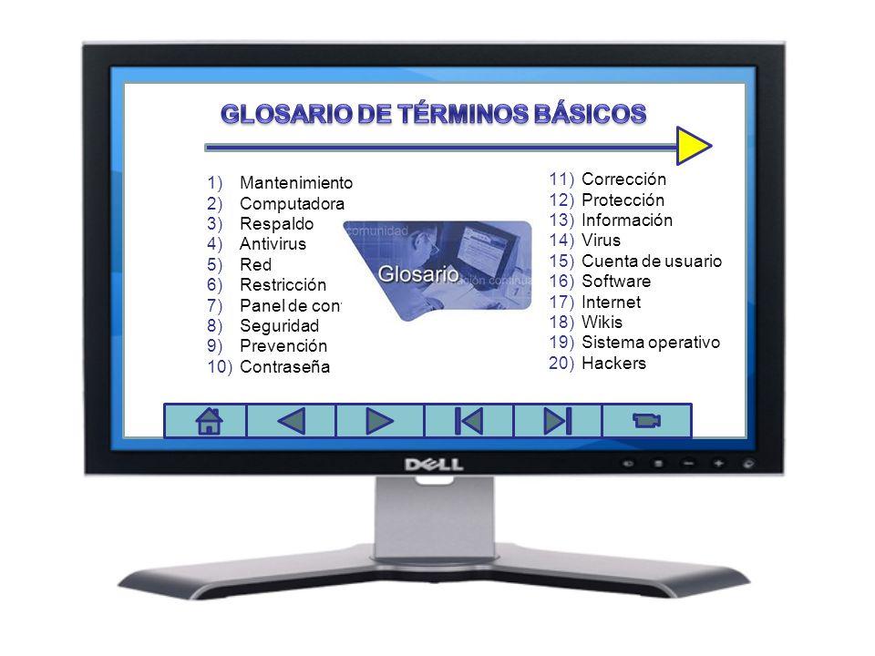 Panel de control 1)Mantenimiento 2)Computadora 3)Respaldo 4)Antivirus 5)Red 6)Restricción 7)Panel de control 8)Seguridad 9)Prevención 10)Contraseña 11