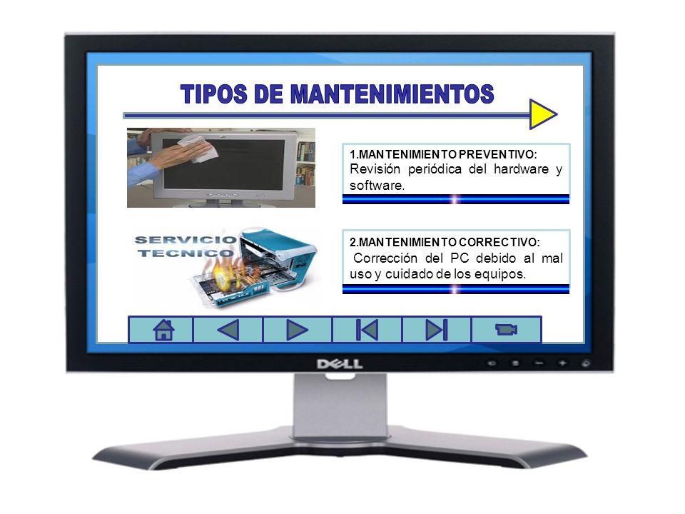 Panel de control 1.MANTENIMIENTO PREVENTIVO: Revisión periódica del hardware y software. 2.MANTENIMIENTO CORRECTIVO: Corrección del PC debido al mal u