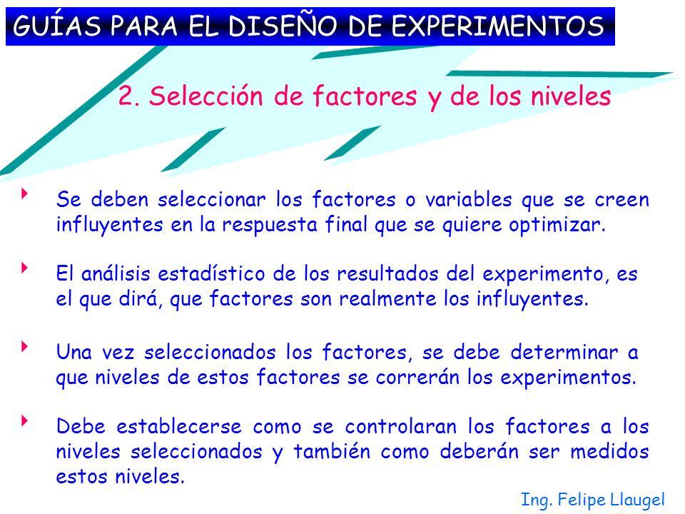 Ing. Felipe Llaugel 2. Selección de factores y de los niveles Debe establecerse como se controlaran los factores a los niveles seleccionados y también