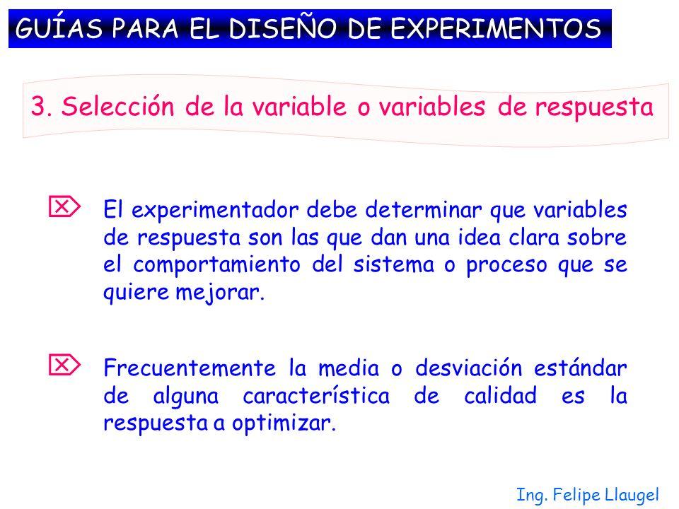 Ing. Felipe Llaugel Frecuentemente la media o desviación estándar de alguna característica de calidad es la respuesta a optimizar. 3. Selección de la