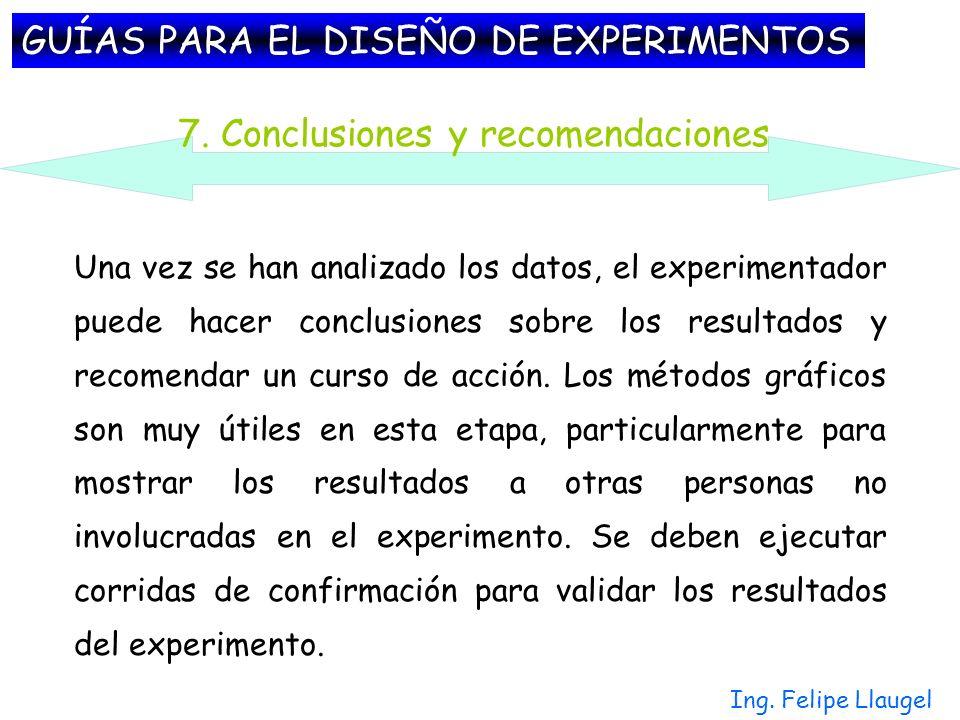 Ing. Felipe Llaugel Una vez se han analizado los datos, el experimentador puede hacer conclusiones sobre los resultados y recomendar un curso de acció