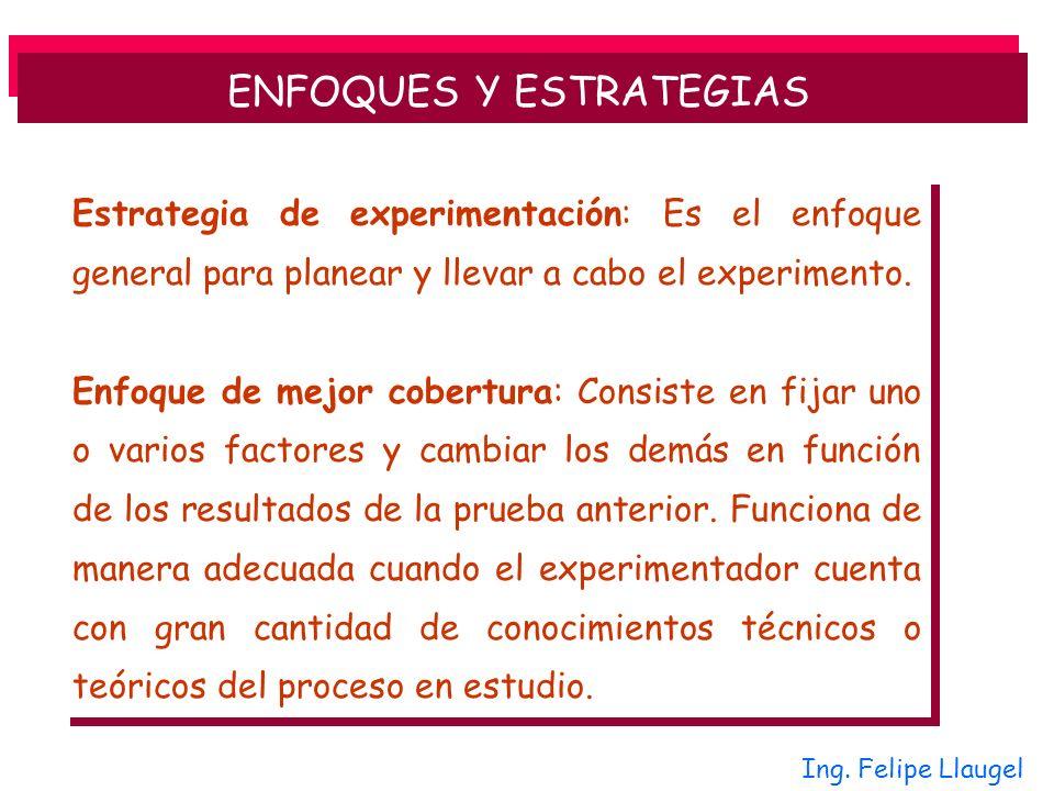 Estrategia de experimentación: Es el enfoque general para planear y llevar a cabo el experimento. Enfoque de mejor cobertura: Consiste en fijar uno o