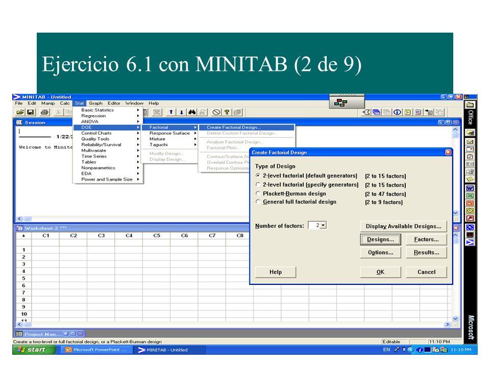 Ejercicio 6.1 con MINITAB (2 de 9)