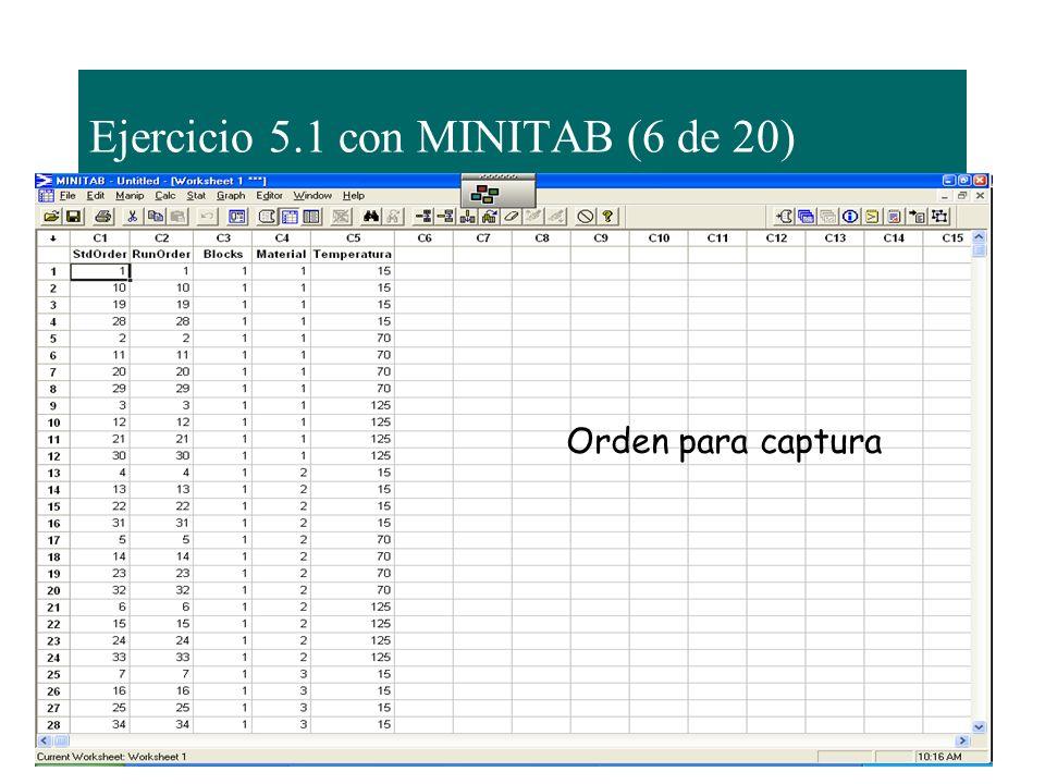 Ejercicio 5.1 con MINITAB (6 de 20) Orden para captura