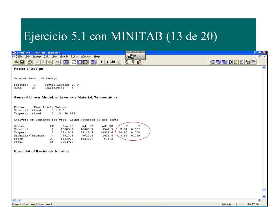 Ejercicio 5.1 con MINITAB (13 de 20)
