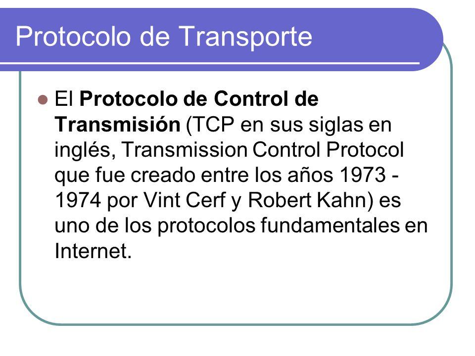 Protocolo de Transporte El Protocolo de Control de Transmisión (TCP en sus siglas en inglés, Transmission Control Protocol que fue creado entre los años 1973 - 1974 por Vint Cerf y Robert Kahn) es uno de los protocolos fundamentales en Internet.