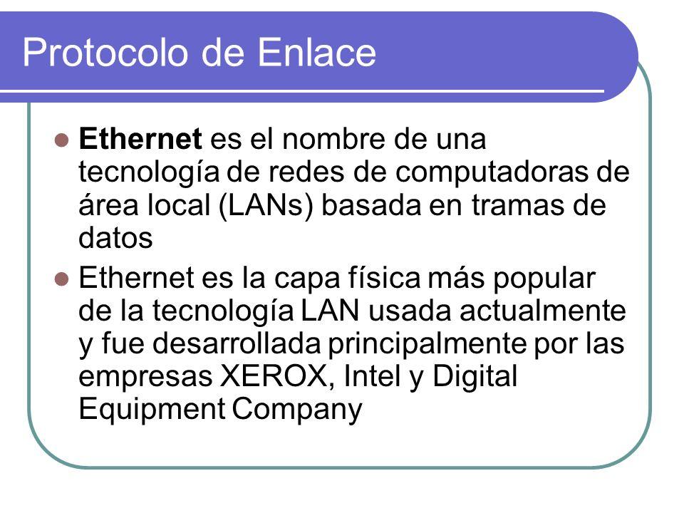 Protocolo de Enlace Ethernet es el nombre de una tecnología de redes de computadoras de área local (LANs) basada en tramas de datos Ethernet es la capa física más popular de la tecnología LAN usada actualmente y fue desarrollada principalmente por las empresas XEROX, Intel y Digital Equipment Company