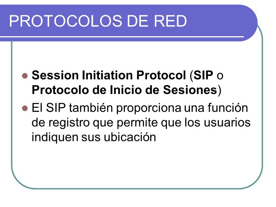 PROTOCOLOS DE RED Session Initiation Protocol (SIP o Protocolo de Inicio de Sesiones) El SIP también proporciona una función de registro que permite que los usuarios indiquen sus ubicación