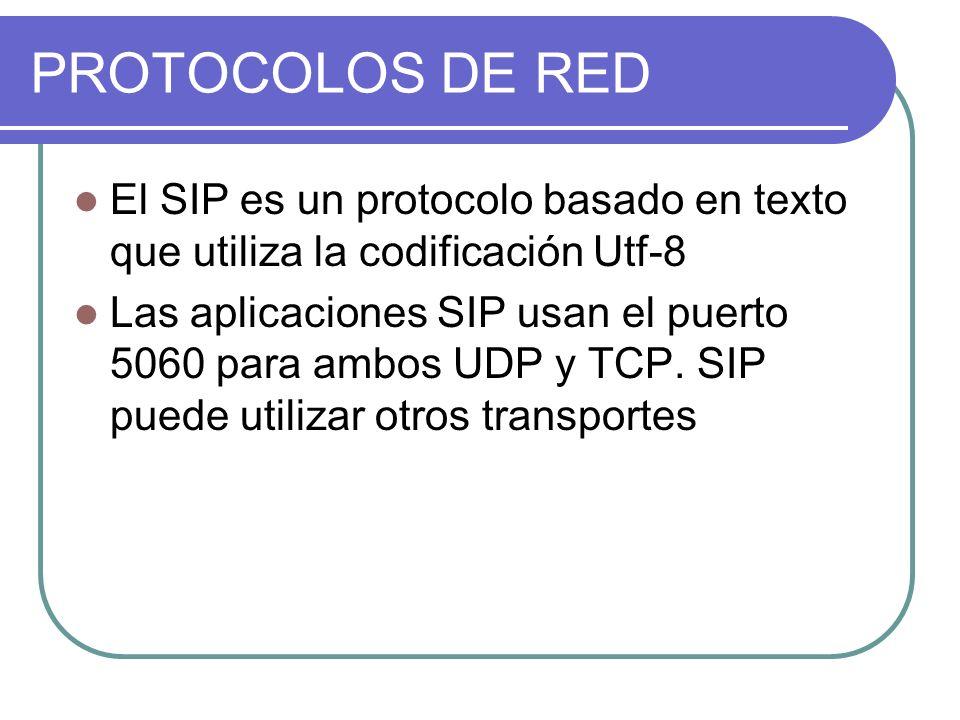 PROTOCOLOS DE RED El SIP es un protocolo basado en texto que utiliza la codificación Utf-8 Las aplicaciones SIP usan el puerto 5060 para ambos UDP y TCP.