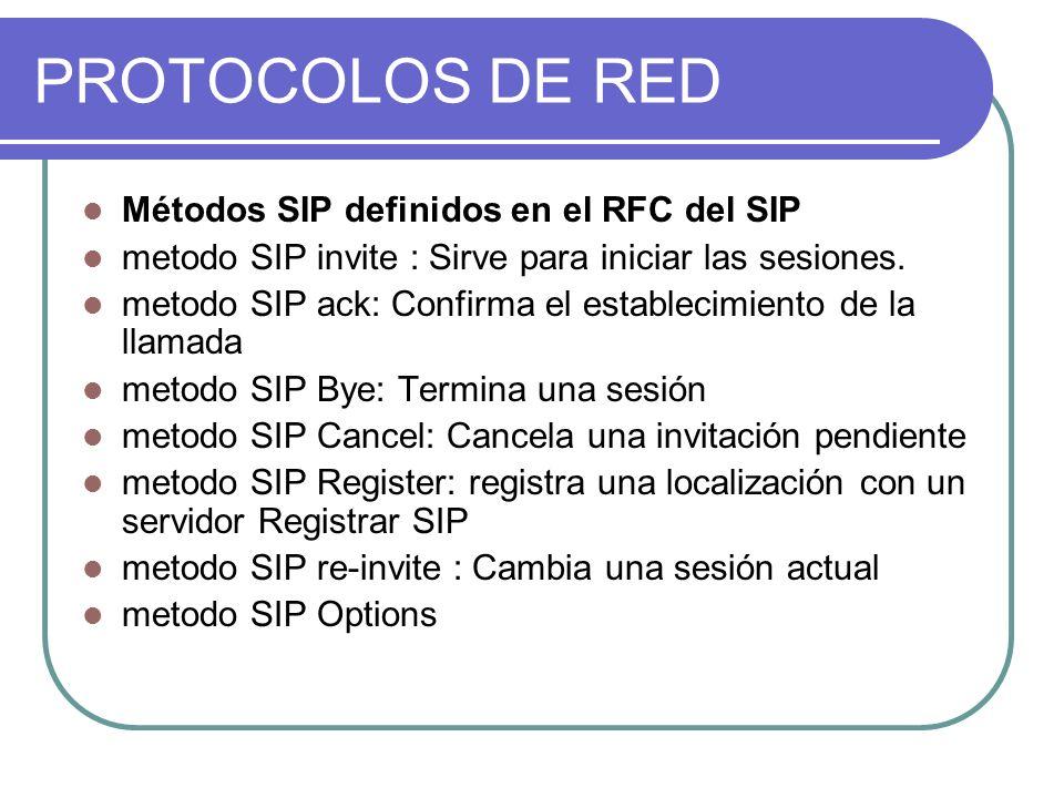PROTOCOLOS DE RED Métodos SIP definidos en el RFC del SIP metodo SIP invite : Sirve para iniciar las sesiones.