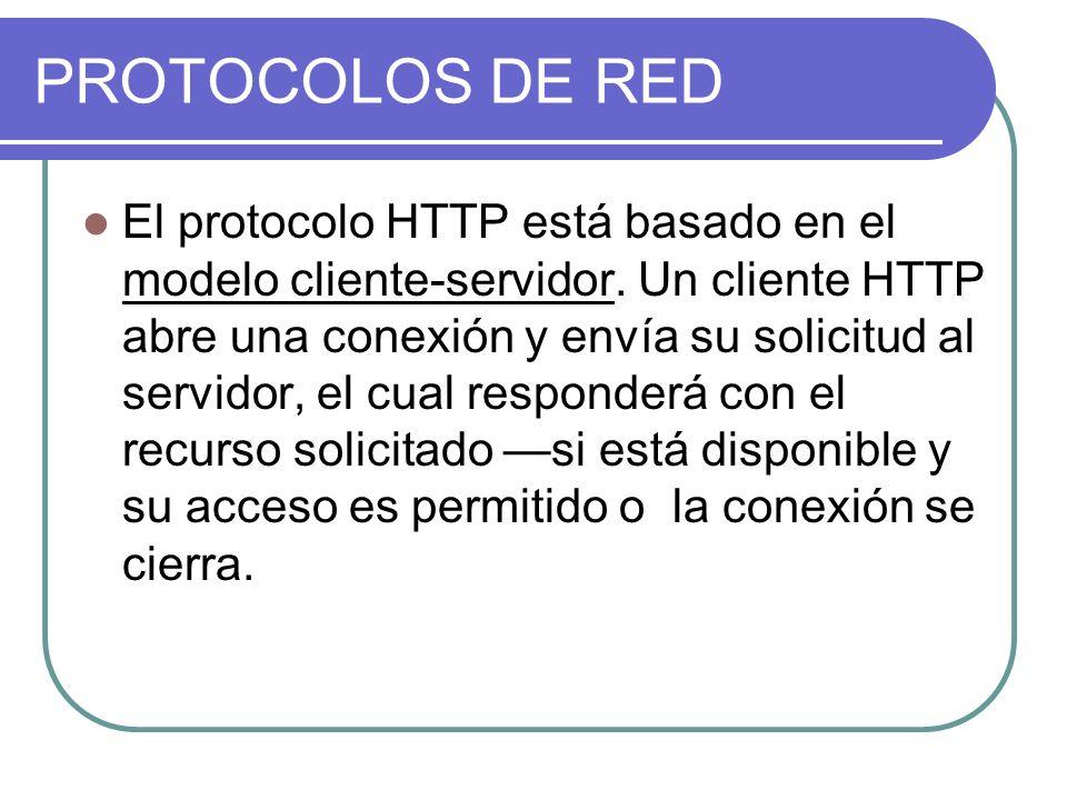 PROTOCOLOS DE RED El protocolo HTTP está basado en el modelo cliente-servidor.