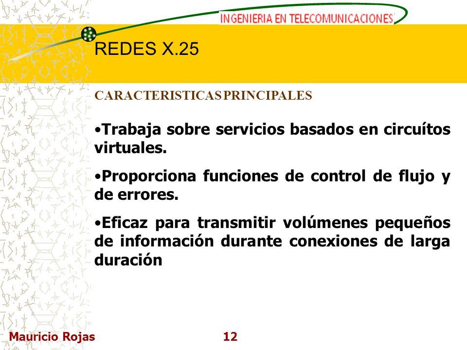 REDES DE COMPUTADORAS I REDES X.25 Mauricio Rojas12 CARACTERISTICAS PRINCIPALES Trabaja sobre servicios basados en circuítos virtuales. Proporciona fu