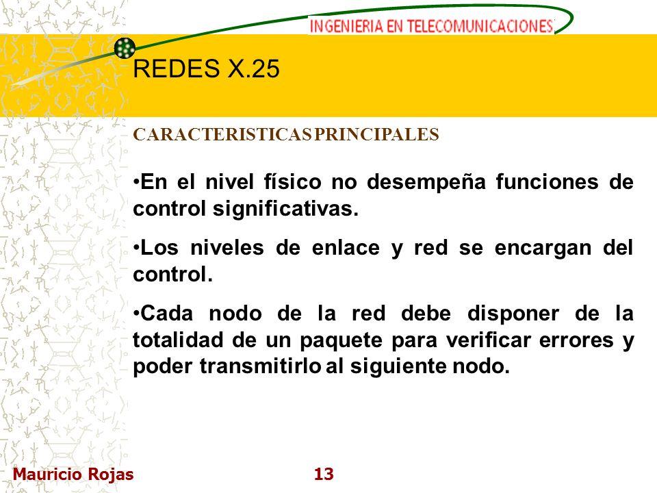 REDES DE COMPUTADORAS I REDES X.25 Mauricio Rojas13 CARACTERISTICAS PRINCIPALES En el nivel físico no desempeña funciones de control significativas. L