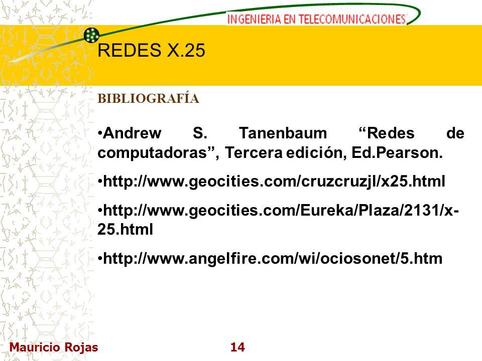 REDES DE COMPUTADORAS I REDES X.25 Mauricio Rojas14 BIBLIOGRAFÍA Andrew S. Tanenbaum Redes de computadoras, Tercera edición, Ed.Pearson. http://www.ge
