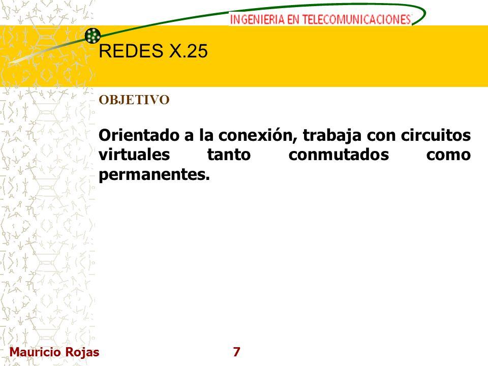 REDES DE COMPUTADORAS I REDES X.25 Mauricio Rojas7 OBJETIVO Orientado a la conexión, trabaja con circuitos virtuales tanto conmutados como permanentes