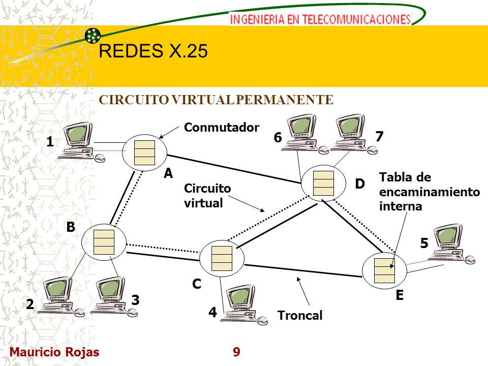 REDES DE COMPUTADORAS I REDES X.25 Mauricio Rojas10 CIRCUITO VIRTUAL CONMUTADO Se establecen en forma dinámica cuando se necesitan y pueden liberarse inmediatamente después.