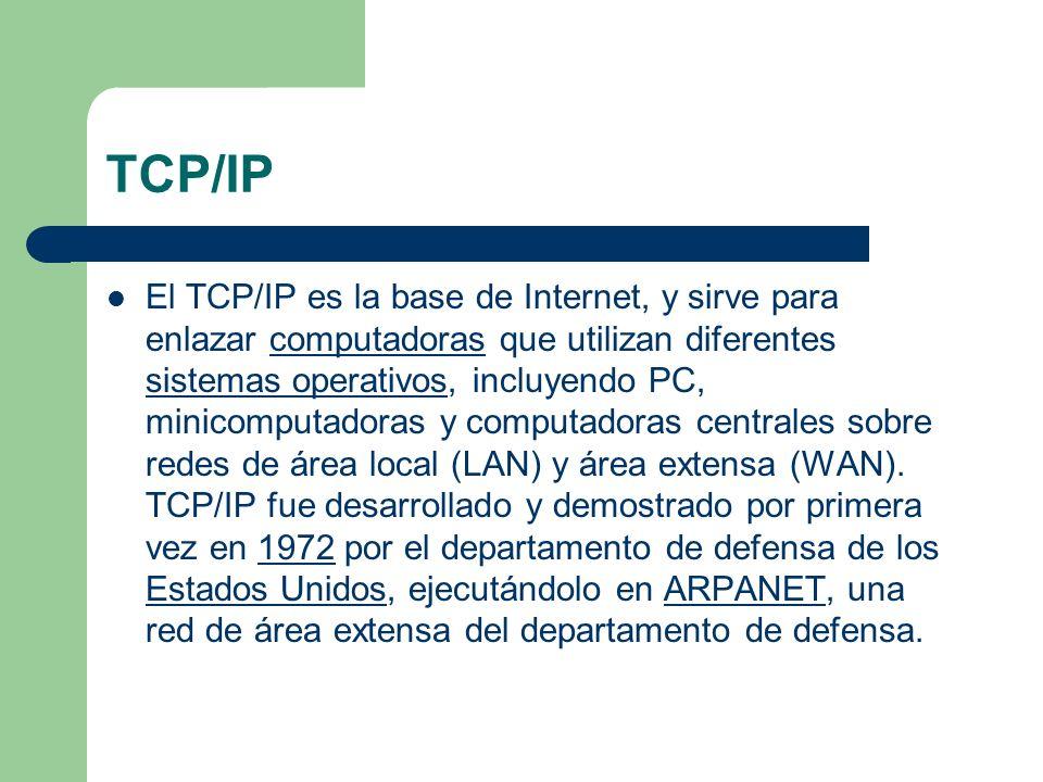 TCP/IP El TCP/IP es la base de Internet, y sirve para enlazar computadoras que utilizan diferentes sistemas operativos, incluyendo PC, minicomputadora